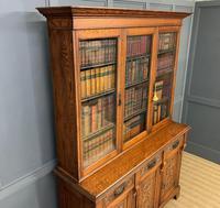 Victorian Carved Oak 3 Door Bookcase (3 of 23)