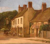 "Oil painting Pair by Alfred Kedington Morgan ""Village High Street"" (8 of 8)"