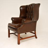 Antique Georgian  Style  Leather Wing Back Armchair (5 of 10)