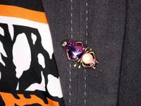 12.39ct Amethyst, Pearl & Ruby, 14ct Yellow Gold Insect Brooch - Vintage c.1960 (9 of 9)