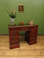 Small Antique Reproduction Pedestal Desk with Leather top, Brights of Nettlebed (10 of 10)