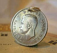 Vintage Pocket Watch Chain Fob 1949 Lucky Silver One Shilling Old 5d Coin Fob (2 of 6)