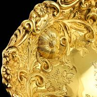 Majestic Antique Solid Silver Gilt Large Dishes / Bowls - Set of 3 - John Aldwinckle & Thomas Slater 1892 (11 of 18)