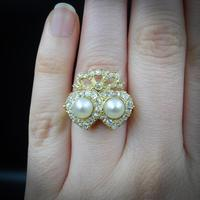 Antique Pearl and Diamond Twin Double Heart Bow 18ct Yellow Gold Ring (5 of 9)