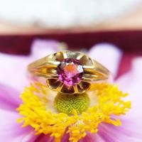 Antique Victorian 18ct Gold Almandine Garnet Solitaire Ring