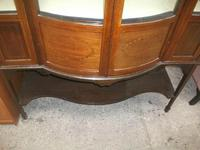 Bow Front Inlaid Mahogany Glazed Cabinet on Tapered Legs (5 of 6)