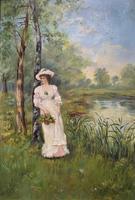 'R.M Stewart' Original Lovely 19thc Elegant Lady Oil Portrait Painting '1886' (2 of 11)
