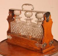 Liquor Cellar / Tantalus In Silver Metal And Oak Three Crystal Bottles - 19th Century (2 of 10)