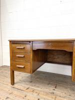 Early 20th Century Antique Oak Pedestal Desk (3 of 9)