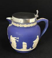 Victorian Blue and White With Silver Plated Lid Jug by Adams (4 of 6)