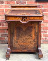 Antique Victorian Inlaid Burr Walnut Davenport Writing Desk