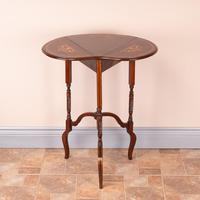 Edwardian Inlaid Rosewood Drop Leaf Occasional Table (4 of 23)
