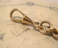 Antique Pocket Watch Chain 1890s Victorian Large 10ct Rose Gold Filled Albert With T Bar (10 of 12)