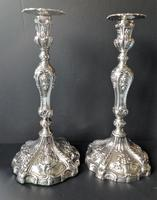 Pair Tall Antique Georgian Silver Candlesticks - 1769 (2 of 10)