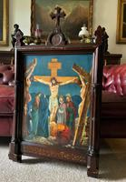 Superb 19th Century Old Master Biblical Christ Oil Portrait Painting - Gothic Oak Frame (2 of 17)