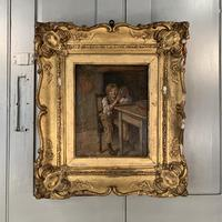 Antique Georgian oil painting study of boy in kitchen scullery with pewter plate (7 of 10)