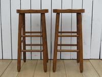 Pair of Oak Tall Bar Stools (3 of 8)