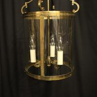 French Convex Gilded Brass Triple Light Antique Hall Lantern (7 of 10)