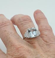Platinum Pale Aquamarine & Diamond Ring (6 of 8)