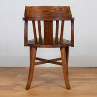Vintage 1930s Oak Office Chair With Fresh Leather Seat x 2 (6 of 11)