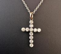 Antique Silver Paste Cross Pendant, Victorian Necklace