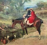 19thC English School - Horse & Hound Country landscape Oil Painting (7 of 11)