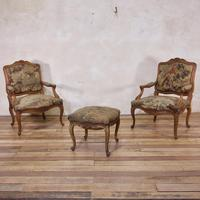 Pair of Late 18th Century French Louis XV Fauteuils - Aubusson Tapestry