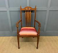 Arts & Crafts Inlaid Armchair (2 of 9)
