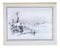 Pair of Antique Japanese Ink & Watercolour Paintings c.1910 (2 of 6)