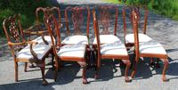 1960s Set of 8 Mahogany Chippendale Style Dining Chairs Pop Out Seats (2 of 4)
