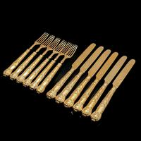 Antique Victorian Solid Silver Gilt Fruit / Dessert Knives & Forks Set of Six in Queens Pattern - Aaron Hadfield 1839 (21 of 32)