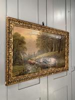 Antique 19th Century British River Landscape Oil Painting of Cows Cattle Signed JD Morris '1 of 2' (7 of 10)