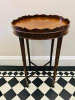 Small Antique  Wine or Candle Table With Galleried Top & Pull Out Shelf (2 of 13)