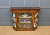 Victorian Burr Walnut Glazed Side Cabinet