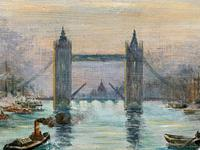 Superb Original 1921 View of Tower Bridge London Seascape Oil Painting (8 of 12)