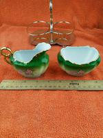 Antique Bone China Milk Jug & Sugar Bowl in Silver Pate Carry Stand C1890 (4 of 12)