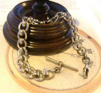 Antique Pocket Watch Chain 1920s Large Silver Nickel Fancy Link Albert With T Bar (3 of 10)