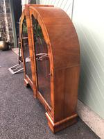 Art Deco Figured Walnut Display Cabinet (4 of 10)