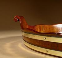 Very Decorative & Useful Original Oval Mahogany Coopered Tray (3 of 9)