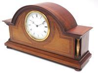 Fine Edwardian Mahogany Arched Clock Multi Wood Inlay Timepiece Mantel Clock (5 of 9)