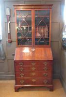 Fine George III Period Flame Mahogany Bureau Bookcase (2 of 9)