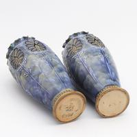 Pair of Royal Doulton Stoneware Art Nouveau Vases by Eliza Simmance c1903 (10 of 11)