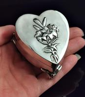Antique Heart Shaped Silver Jewellery Box, Art Nouveau, William Comyns (15 of 15)