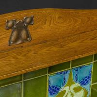 Arts & Crafts Oak Washstand with Marble Top (10 of 14)
