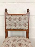 Pair of Antique Victorian Gothic Oak Chairs with Floral Upholstery (9 of 10)