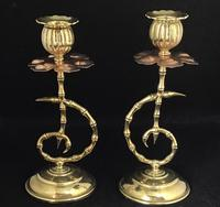 Pair of Arts and Crafts Brass and Copper Benson Style Candlesticks (2 of 7)