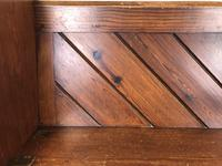 Antique Pitch Pine Church Pew with Enamel Number 35 (6 of 12)