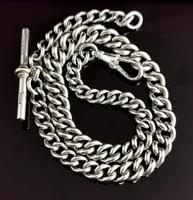 Vintage Art Deco Sterling Silver Albert Chain, Watch Chain (5 of 10)