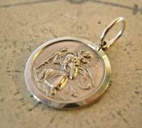 Vintage Pocket Watch Chain Silver St Christopher Fob 1970s Dainty Silver Fob (3 of 7)