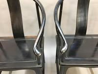 Pair Chinese ebonised horseshoe chairs (2 of 11)